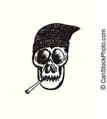 Hand drawn skull smoking