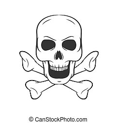 Hand drawn skull with bones. icon on white background