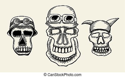 Hand drawn skulls. Blackicons on beuge background. Vector...