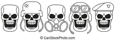 Hand-drawn Skulls Vector Set. Grunge Skulls. Vector ...