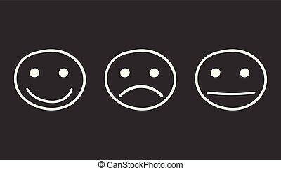Hand drawn smiley icon. Emotion face vector illustration in flat style on black background.