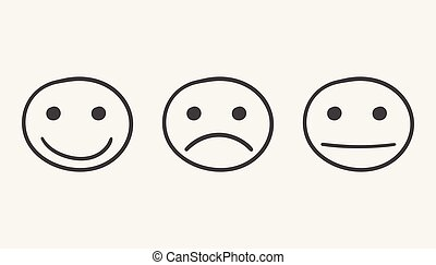 Hand drawn smiley icon. Emotion face vector illustration in flat style on white background.