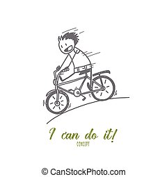 Hand drawn smiling man riding bicycle