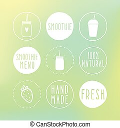 Hand drawn smoothie labels and blur background. Vector hand drawn illustration