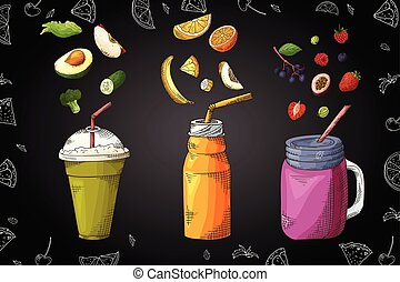Hand drawn smoothie poster with illustration of ingredients. Sketch style for cafe or menu. Vector design template