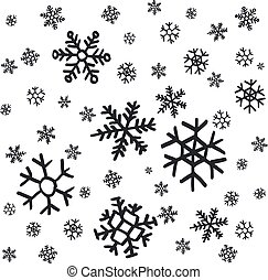 hand drawn snowflakes Christmas ornaments made from decorative snowflakes vector sketch illustration Christmas background with grey snowflakes on white background