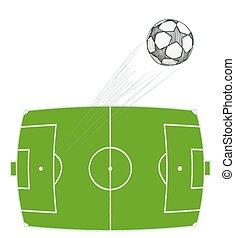 hand drawn soccer ball flying over stadium. vector illustration