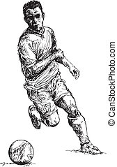 hand drawn soccer player