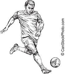 hand drawn soccer player