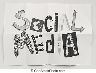 hand drawn social media icons on crumpled paper background as concept