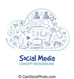 Hand drawn social media network doodle sketch vector concept background