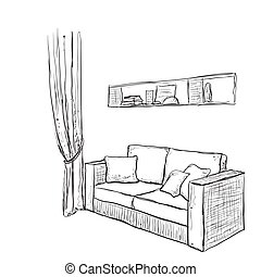 Hand drawn sofa sketch.