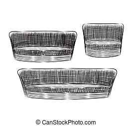 Hand drawn sofas, vector illustration.