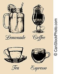 Hand drawn soft drinks, lemonade, coffee, tea. Vector sketch illustrations set for restaurant, cafe, bar menu.