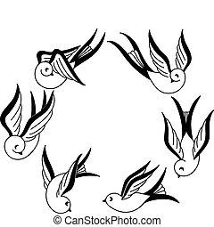 Set of hand drawn songbird tattoo design elements