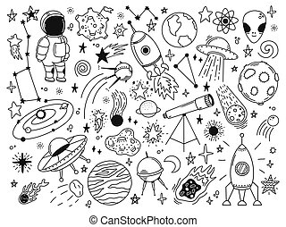 Hand drawn space. Doodle space planets, astrology cosmic doodles, telescope, cosmic rocket, spacecrafts. Universe doodle vector illustration set