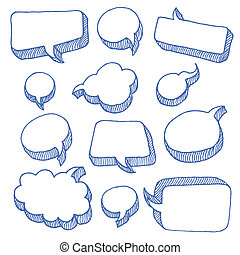Speech And Thought Bubbles - Hand Drawn Speech And Thought...