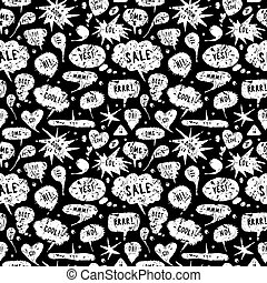 Hand-drawn speech bubble seamless pattern. White silhouettes...