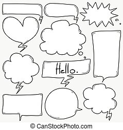 Hand Drawn Speech Bubble Set.