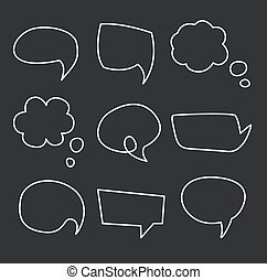 Hand drawn speech bubbles chalk on blackboard