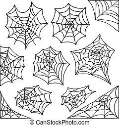 Hand drawn spider web Halloween symbol. Cobweb decoration...