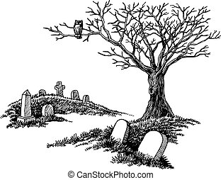 A hand-drawn spooky graveyard with tombstones and tree with an owl.