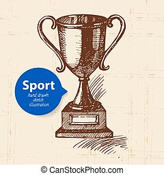 Hand drawn sport object. Sketch trophy. Vector illustration