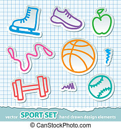 hand drawn sport stickers, vector eps 10