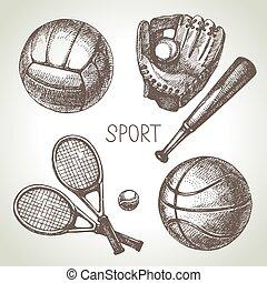 Hand drawn sports set. Sketch sport balls. Vector illustration