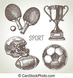 Hand drawn sports set. Sketch sport balls. Vector...