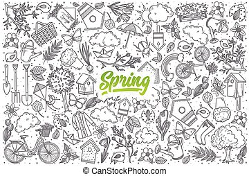 Hand drawn Spring doodle set with lettering