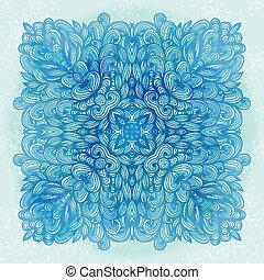 Hand drawn square blue ornament - Hand drawn ethnic square...