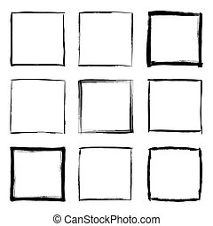 Hand drawn square frames set