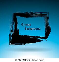 Hand drawn square shape. Label, logo design element. Black frame. Grunge background.