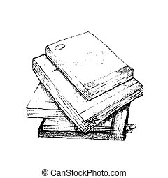 Hand Drawn Stack of Books on White Background