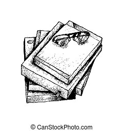 Hand Drawn Stack of Books with Glasses