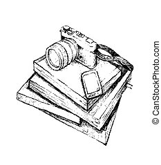 Hand Drawn Stack of Books with Smart Phone and Camera - ...