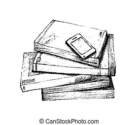 Hand Drawn Stack of Books with Smart Phone