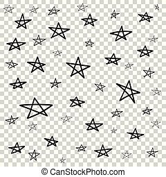 Hand drawn star pattern with ink doodles. Simple vector illustration on isolated background.