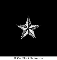 vector monochrome white retro dot art hand drawn star shape blackwork abstract design vintage tattoo style decoration isolated figure illustration black background