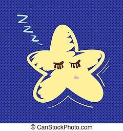 Hand drawn star sleeping vector illustration