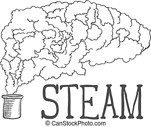 Hand Drawn Steam Illustration on White Background. Vector