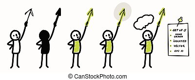 Hand drawn stick figure pointing arrow up. Concept of direction, success, motion. Simple vector stickman line art icon. Symbol sign with speech bubble. Isolated set of 5 in simple crayon doodle color.
