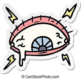 sticker cartoon doodle of an enraged eye - hand drawn ...