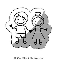 hand drawn sticker silhouette couple of children