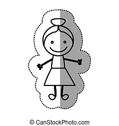 hand drawn sticker silhouette with girl
