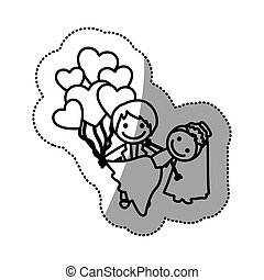 hand drawn sticker silhouette with married couple and balloons of hearts