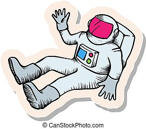 Hand drawn sticker style Astronaut sketch vector illustration