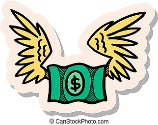 Hand drawn sticker style green flying dollar note icon vector illustration