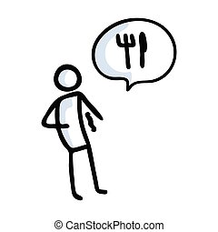 Hand drawn stickman hungry with speech bubble. Simple outline hunger starving doodle icon clipart. For food sketch.